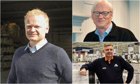 Daglig leder ved Maxbo Ivar O Haugen, Bjørn Ivar Haugen, daglig leder ved Eiker bygg, Svein K. Hobbelstad og varehussjef ved Obs Bygg Mjøndalen Vegard Hulbak.