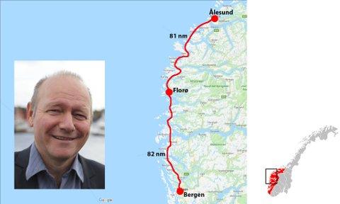 – Kartet viser at avstanden frå Bergen til Florø og frå Florø til Ålesund er lik; kring 81 nautiske mil, seier Jan Henrik Nygård. Han ser føre seg ei nord- og ei sørgåande rute, med base i Florø.