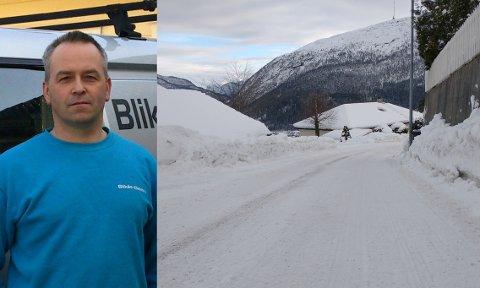 STORNØGD: Dette bildet tok Blikås i Haresporet rett før helga. Han vil rose mannskapet for brøytinga, og særskilt sidan det har vore mykje snø å brøyte unna sidan nyttår.