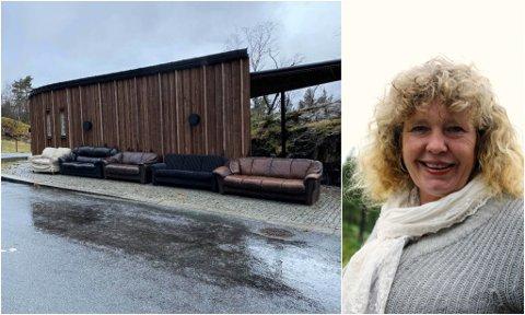 SJOKKERT: Synnøve Herstad er ei av fleire som stiller seg undrande til kvifor sofagruppa er plassert ved Ausevika.