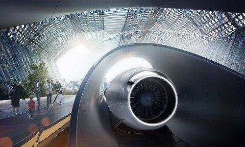 Slik forklarer forfatterne hyperloop: – Hyperloop flytter gods og folk i et rør med lavt lufttrykk. Vogner som kan ta passasjerer eller gods svever ved hjelp av magneter og drives slik som japanske magnettog. Illustrasjon: hyperloop.global