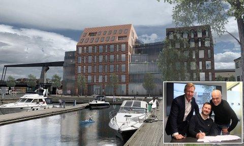 SIGNERT: Onsdag skrev Trond Delbekk, Kjell EInar Olsen og Jørn Eriksen under leieavtalen for Dokka 4. Bygget skal stå ferdig i 2021, og er tegnet av Griff Arkitektur.
