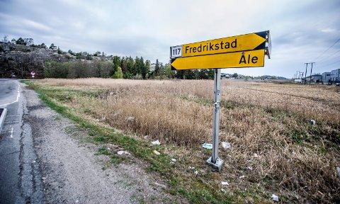 VIL TILLATE NÆRING HER: Der dette veiskiltet står, er det planen at Åledalslinja skal komme i fremtiden. Det er på det som er igjen av jordet mellom Åledalslinja og Gamle Åledalsvei (i bakgrunnen) at rådmannen vil tillate næring.
