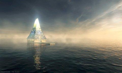 Modell. Slik vil Håpets katedral ta seg ut når den er ferdig og tauet ut i åpent vann.