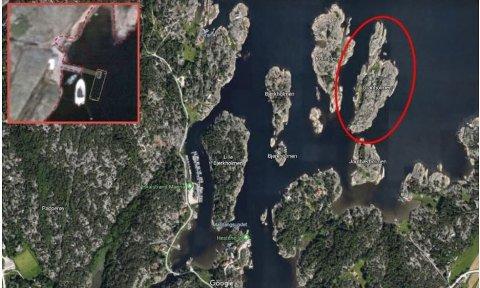 Granholmen ligger på innsiden av Papper/ Vesterøy.  Den lille, innfelte illustrasjonen viser hvordan bryggeløsning hytteeieren har ønsket seg.