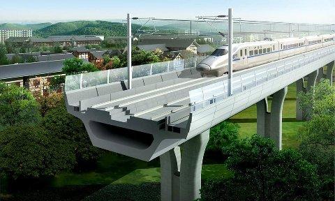 Dette er en modell av hvordan den nye superjernbanen er tenkt bygd. Bildet ble presentert for politikerne i Indre Østfold.  Illustrasjon: Smaalenenes Avis/ Skagerrakbanen AB