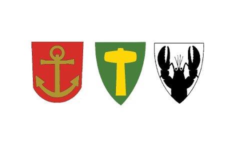 Slik ser Narvik, Ballangen og Tysfjords kommunevåpen ut i dag.