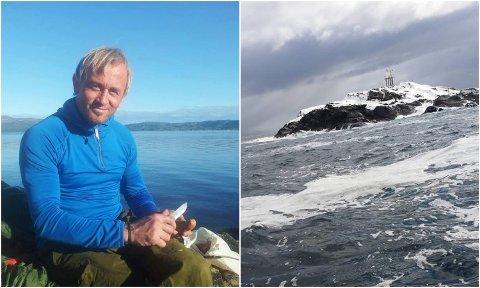 GJENNOMFØRER DRØMMEN: Odd-Karl Stangnes fra Skjervøy mener samfunnet er på vei helt feil sted, og tar sitt eget oppgjør: Det neste året skal han bo fast på dette skjæret (til høyre) midt ute på det åpne havet utenfor hjemstedet.