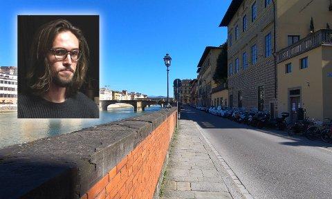 TOMT: Det er knapt en sjel å finne ute i Firenzes gater i disse dager. Narvikingen Rolf Hellem må stort sett holde seg innendørs.