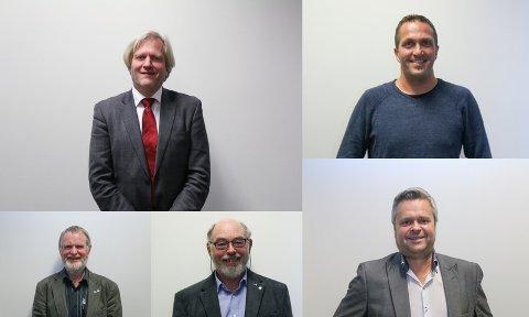 Øvst: Frode Fjeldsbø (Ap) og Andreas E. Eidsaa jr. (KrF) Nedst: Torbjørn Fjermestad (Sp), Henry Tendenes (H) og Espen Aaserud Karlsen (Frp)