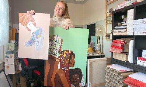 Benedicte Grødem Nes fra Ålgård selger illustrasjoner med stor suksess. Hennes største markedsføringsplattform er TikTok.