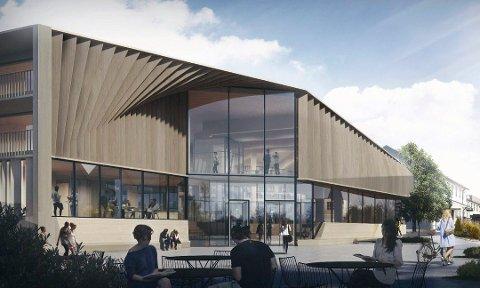 SIGNALBYGG: Slik blir det bye bank-, bilibliotek- og leilighetsbygget på Sand.