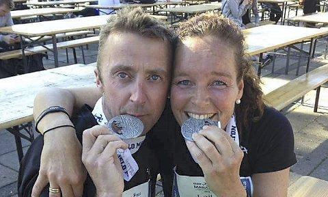 Treningspartner: Laila Grønnerud har vært en viktig motivasjonskilde og en god treningspartner for Nils Raymond – som løp i mål på tiden 4.28.