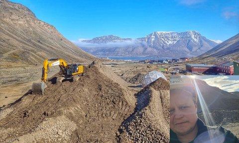 Maskinfører Bernt Håkon Slettum Storhaug i Lesja Bulldozerlag stortrives på jobb på Svalbard.