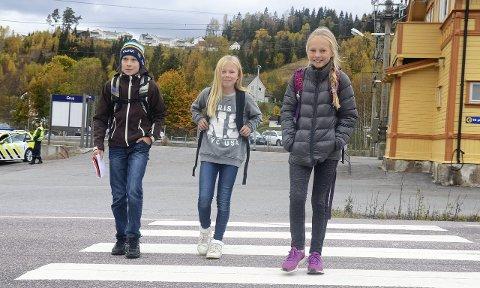 Krysser vegen: Simen Gammelmo (11, til venstre) og Amalie Skeie Myllsbråten (9, til høyre) må gå over en sterkt trafikkert fylkesveg 16 hver dag. Emma Myllsbråten Jacobsen (11, i midten) slipper det, for hun var bare med på besøk etter skolen akkurat denne dagen.