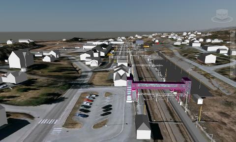 SÅNN BLIR DET: Skisse over Jaren stasjon, sett sørfra, slik den skal se ut fra sommeren 2022.