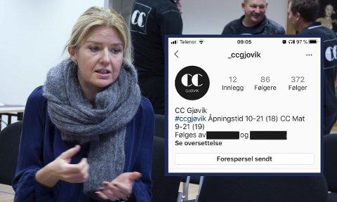 OPPDAGET I GÅR KVELD: – Jeg ble selv invitert til å følge denne falske profilen. Da jeg spurte hvem som sto bak, ble jeg blokkert, sier senterleder ved CC Gjøvik, Vibeke Askevold.