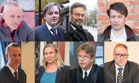 TAR HAALAND I FORSVAR: Øverst fra venstre: Tor M. Fagermo, John M. Hammervoll, Erik Parmer og Ole Richard Holm-Olsen. Nederst fra venstre: Hans Chr N. Wang, Marion E. Norderhaug, Stein Viken og Håvard Tafjord.