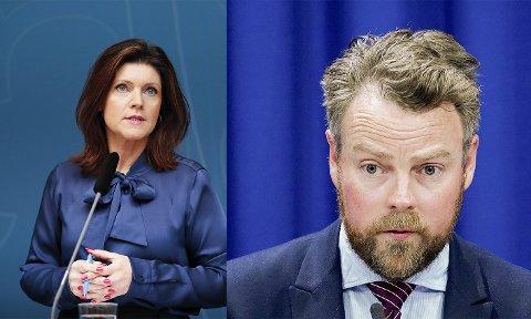 Torbjørn Røe Isaksen (th) møtte sin svenske kollega Eva Nordmark tirsdag.