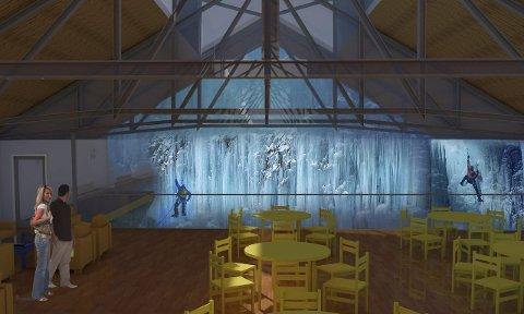 ISKLATREHALL: Slik tenker arkitektene at isklatrehallen kan komme til å se ut innvendig. Illustrasjon: Norconsult