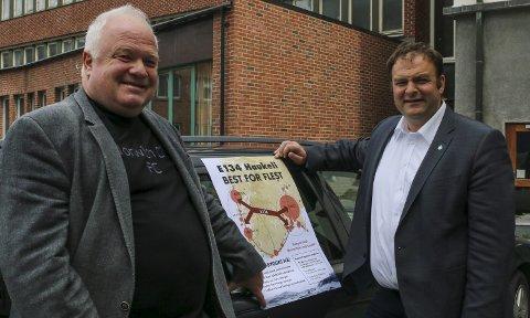 Hordalandsdiagonalen AS: Dagleg leder Arnfinn Førsund og Odda-ordførar Roald Aga Haug (Ap) hadde håp om at det kunne bestillast ein KVU før valet. Arkivfoto