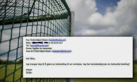TYPISK E-POST: Mange idrettslag har fått e-poster som forsøker å lure noen i klubben til å utbetale penger, ved å utgi seg for å være leder eller en sentral person i idrettslaget. Foto: Skjermdump/Illustrasjonsfoto