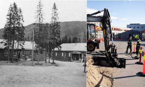 MYSTERIUM: Den mystiske konstruksjonen som ble gravd frem under parkeringsplassen utenfor Coop Extra Mosjøen stammer trolig fra krigen.