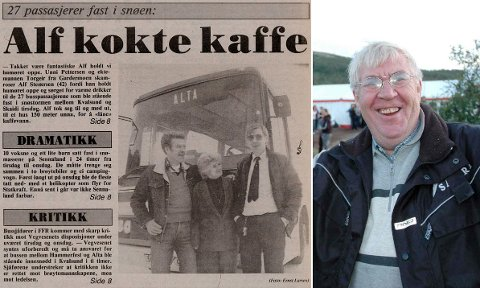 EN MANN MED GODT HUMØR: Da Alf Sterenersen og 27 passasjerer i 1989 ble stående fast 10 timer på grunn av uvær, sørget bussjåføren for at passasjerene hadde det bra. Slikt blir det avisskriverier av.