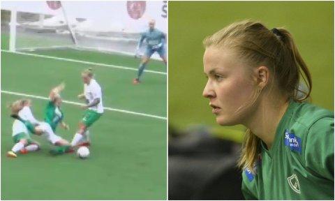 LIVLIG: Fløya-spiller Celine Nergård går ned i feltet på stillingen 1-0 til Fløya i toppkampen mot Øvrevoll/Hosle - uten å få straffe. Etter protester fra hjemmelaget kom dommer Stine Margrete Jensen med en melding til Fløya-spillerne som sjokkerte Martine Fredrikke Hansen fra Sør-Varanger  (til høyre).