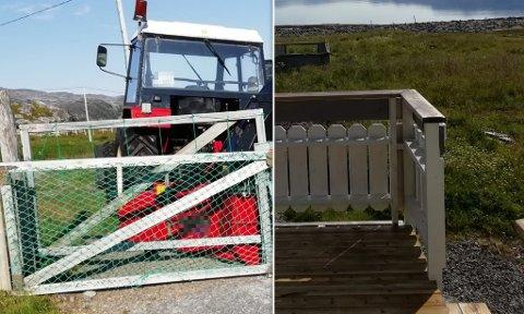KONFLIKT: Bilder fra stedet, som viser at porten er sperret med traktor.  Ifølge den ene delen av familien, har den nå dømte mannen gjort slike ting for å forhindre dem i å komme til egen tomt med bil.