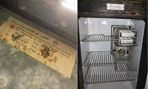 GAMMELT: Kjøleskapet er fra 1932 og Tarjei Warberg har ikke klart å finne noe eldre.