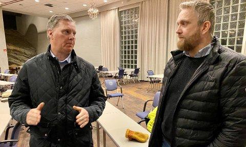 SKAL HJELPE: Leder Carl-Henrik Siebke i HKFU (til venstre). Her sammen med Jan-Erik Winther som også sitter i utvalget.