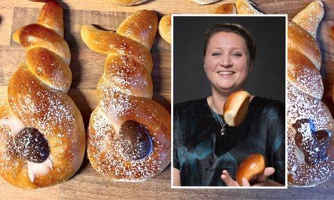 PÅSKEGODT: Bakerinnen Camilla Johansen deler en av sine favorittoppskrifter for påskehøytiden med iHarstads lesere. Prøv deg på påskehareboller med appelsinsirup.