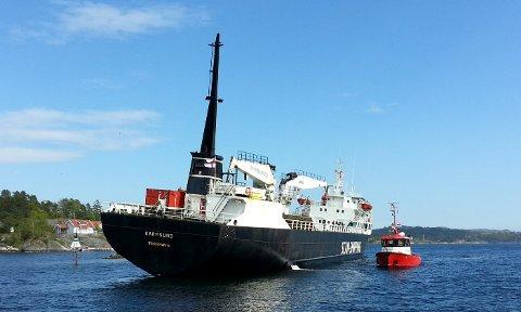 FLERE HENDELSER: Det har vært flere hendelser i Kragerøskjærgården der skip har gått på grunn de siste årene. Flere av disse hendelsene har skjedd på de tre stedene i innseilingen som er klare for utbedring. Dette skipet gikk på grunn i Lovisenbergsundet i 2014.