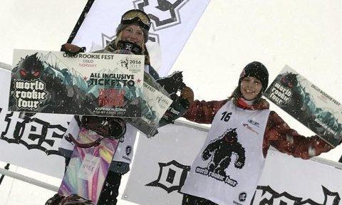 VANT: Tina Steffensen (t.v.) kunne juble for seier og tur til finalen i Østerrike etter halfpipekonkurransen i Oslo. Her sammen med toer Thea Moa-Larsen.