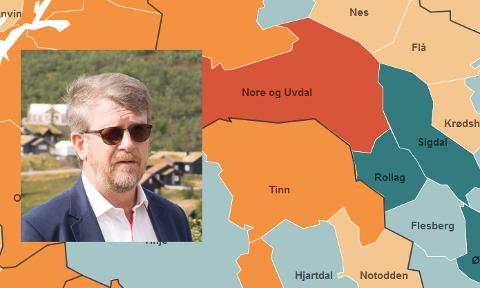 FORNØYD: Rollag-ordfører Dag Lislien (innfelt) kan konstantere at Rollag er en av de få kommunene i Buskerud som har økt folketallet med over en prosent i Buskerud.