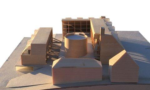 MODELL: Arkitektene i NSW Arkitektur har presentert sine visjoner av bryggerigården. Her sett fra nord.