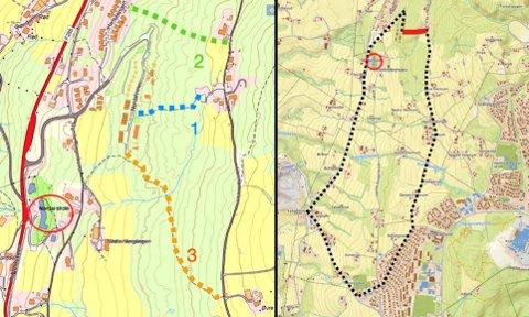 Tre alternativer. Kartet til venstre viser mindre eksisterende stier tilsvarende alle alternativene i dag. Kartet til høyre viser den sammenhengende runden i området. Avmerket rød strek viser manglende forbindelse. Nordal skole er markert på begge kartene.