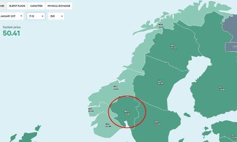 Kartet viser strømprisen på kraftmarkedet eksklusiv avgifter og moms torsdag ettermiddag i Euro.