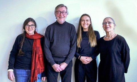 STÅR BAK: Prosjektgruppen for Syndige Folkeeventyr består av Sigrid Bø (fra venstre), Knut G. Andresen (forlegger), Madicken Schei (redaktør) og Jarnfrid Kjøk. (Pressefoto)