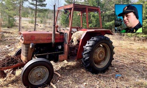 GAMMEL, MEN GOD: Tore Strøm (innfelt) håper noen kan bidra i jakta på den eller de som har stjålet deler fra politibetjentens 51 år gamle traktor.