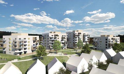 FIRE BLOKKER: Slik ser utbygger for deg de nye blokkene på Oppsal gård. (Alle illustrasjoner: Tag Arkitekter for Veidekke Eiendom)