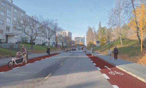 NYE LANGBØLGEN: Nye 1,5 meter brede sykkelfelt på begge sider av Langbølgen. Også en rekke andre oppgraderinger skal foretas som ny asfalt, bedre belysning, opphøyde gangfelt, rundkjøring og innsnevringer. Illustrasjon: Bymiljøetaten
