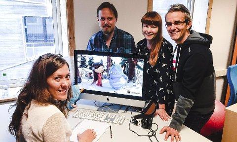 «Dunder»: Animasjonsfilmen «Dunder» har antatt premiere i januar 2016. Animatør Thea Matland, regissør Endre Skandfer, produsent Merete Korsberg Dalsbø og manusforfatter Endre Lund Eriksen forteller om god respons på kortfilmen allerede. Foto: Tove Myhre