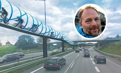 SVEVENDE TUNNEL: Pål Julius Skogholt (SV) kan godt tenke seg en slik sykkeltunnel i Tromsø. Denne illustrasjonen er hentet fra Stavanger, hvor MdG har tatt til orde for en sykkeltunnel fra Stavanger til Sandnes. ILLUSTRASJON: Ole Hauge
