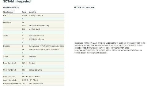 """MELDING: Denne meldingen om den russiske øvelsen ligger ute på nettsiden notaminfo.com. Notam står for """"Notice to Airmen""""."""