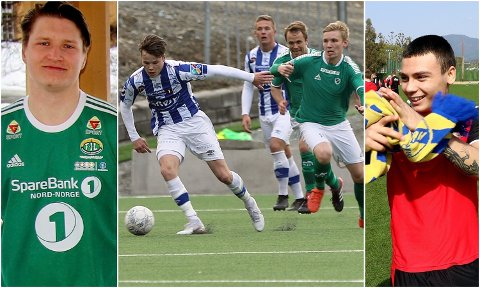 KLARE FOR SERIESTART: Vebjørn Valle Grunnvoll (til venstre), Ørjan Skallebø og Tobias Schjetne (midten) og Sigurd Grønli (til høyre) er blant spillerne Nordlys-sporten tror kan prege årets 3.-divisjonsavdeling.