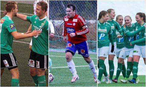 MYE BALL: Nordlys viser som vanlig masse fotballkamper med lokale lag i helga. Mens Finnsnes (til venstre) og Fløya (til høyre) spiller om seriegull, så kjemper Lyngen/Karnes og Steffen Dreyer for å berge plassen i 4.-divisjon.