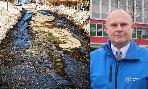 TØFFE FORHOLD: Flere veier i Tromsø har fått hard medfart denne vinteren og vårløsningen. Taxieier Åsmund Karlsen og andre yrkessjåfører merker forholdene til daglig.