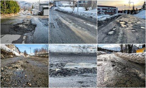 HULL, HULL OG ATTER HULL: Dette er bare noen få skrekkbilder fra bygatene i Tromsø de siste par dagene. Foto: Torgrim Rath Olsen og Are Medby